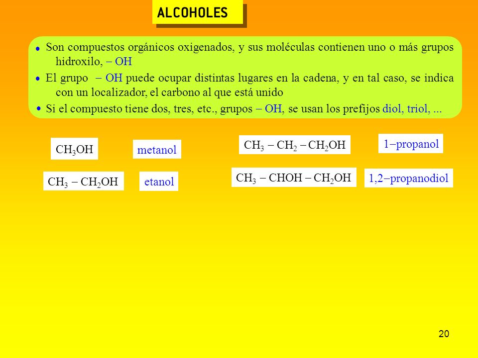 ALCOHOLES  Son compuestos orgánicos oxigenados, y sus moléculas contienen uno o más grupos hidroxilo, - OH.