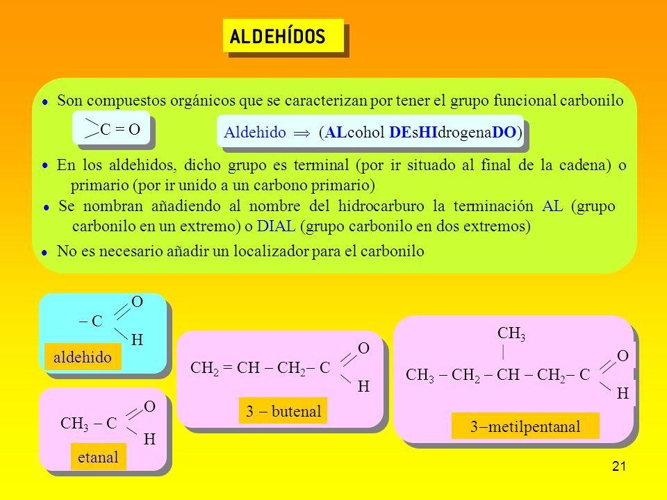 ALDEHÍDOS Son compuestos orgánicos que se caracterizan por tener el grupo funcional carbonilo.