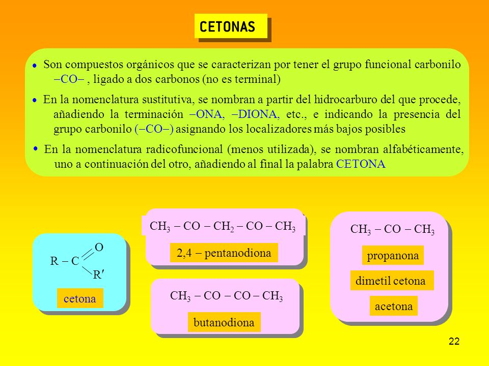 CETONAS Son compuestos orgánicos que se caracterizan por tener el grupo funcional carbonilo -CO- , ligado a dos carbonos (no es terminal)
