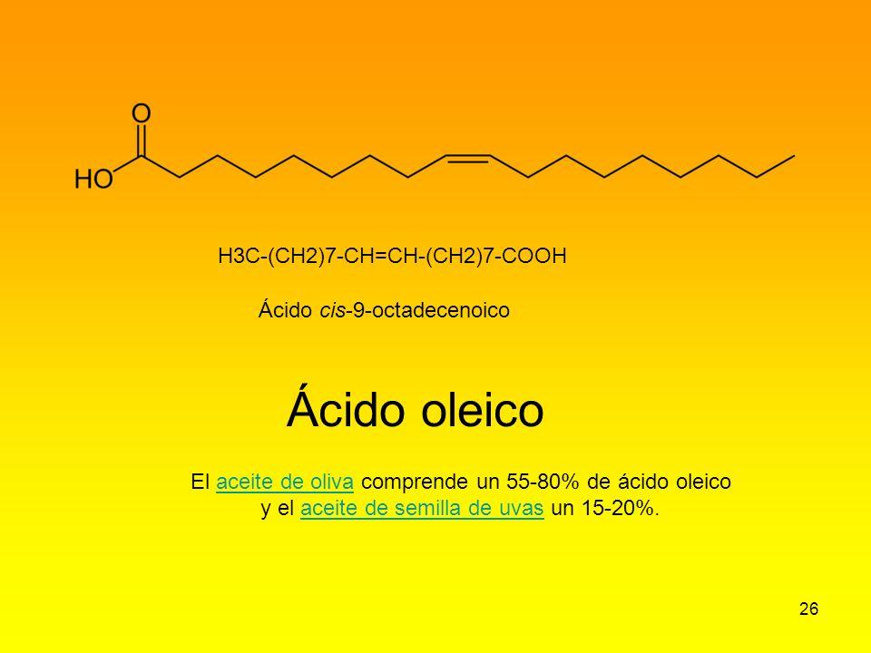 Ácido oleico H3C-(CH2)7-CH=CH-(CH2)7-COOH Ácido cis-9-octadecenoico