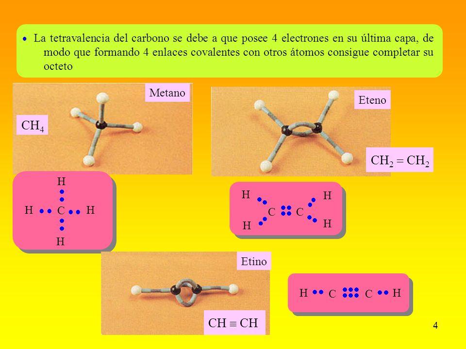 La tetravalencia del carbono se debe a que posee 4 electrones en su última capa, de modo que formando 4 enlaces covalentes con otros átomos consigue completar su octeto