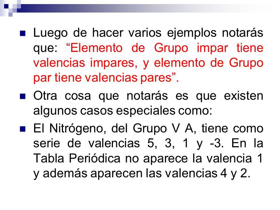 Luego de hacer varios ejemplos notarás que: Elemento de Grupo impar tiene valencias impares, y elemento de Grupo par tiene valencias pares .