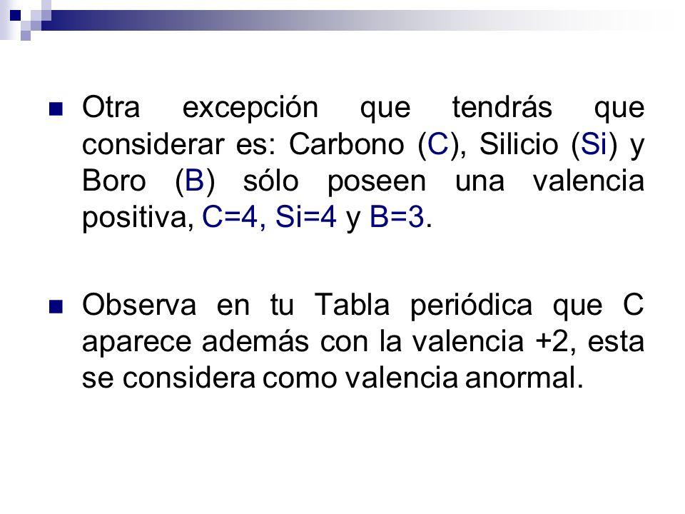 Otra excepción que tendrás que considerar es: Carbono (C), Silicio (Si) y Boro (B) sólo poseen una valencia positiva, C=4, Si=4 y B=3.