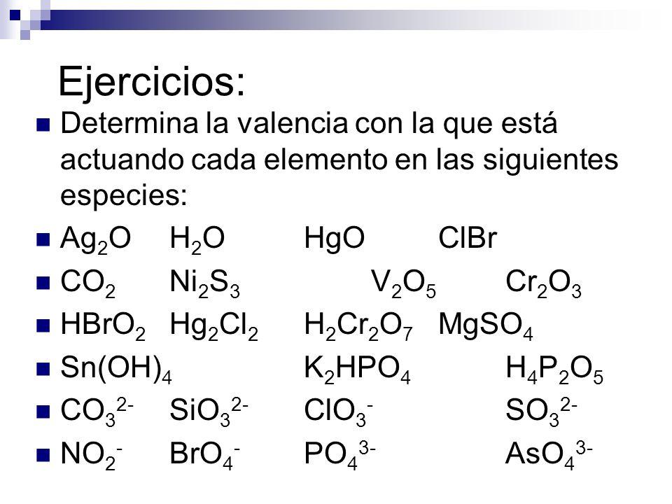 Ejercicios: Determina la valencia con la que está actuando cada elemento en las siguientes especies: