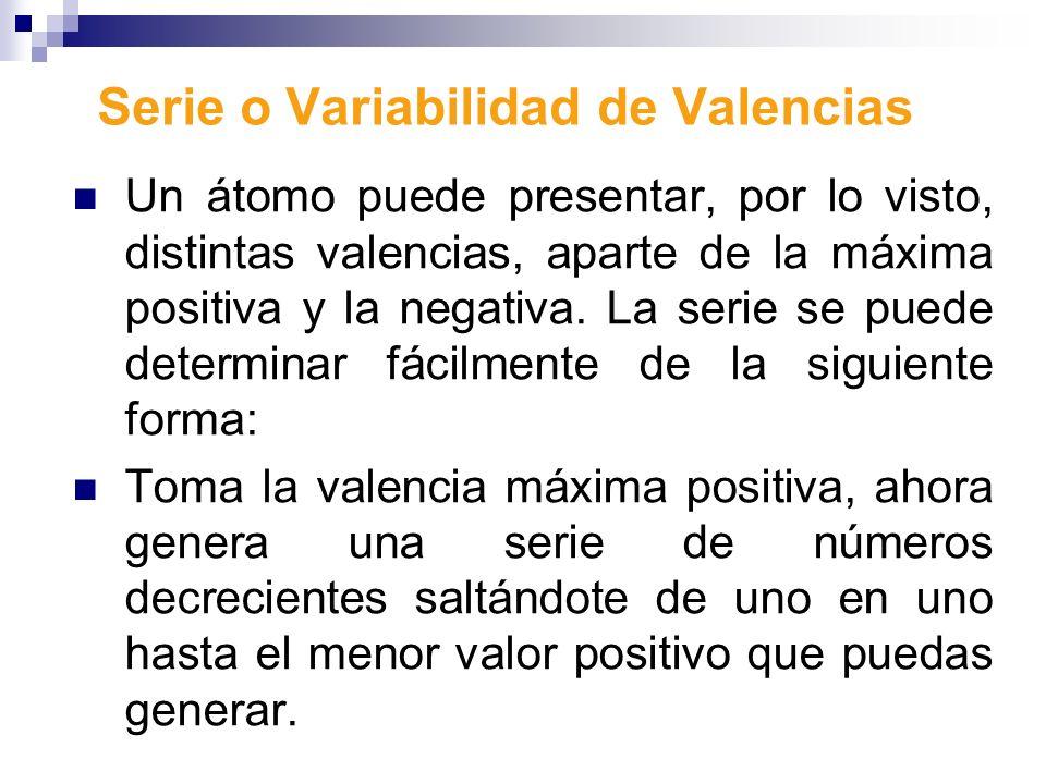 Serie o Variabilidad de Valencias