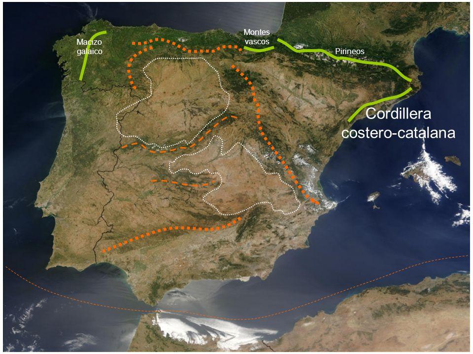 Montes vascos Macizo galaico Pirineos Cordillera costero-catalana