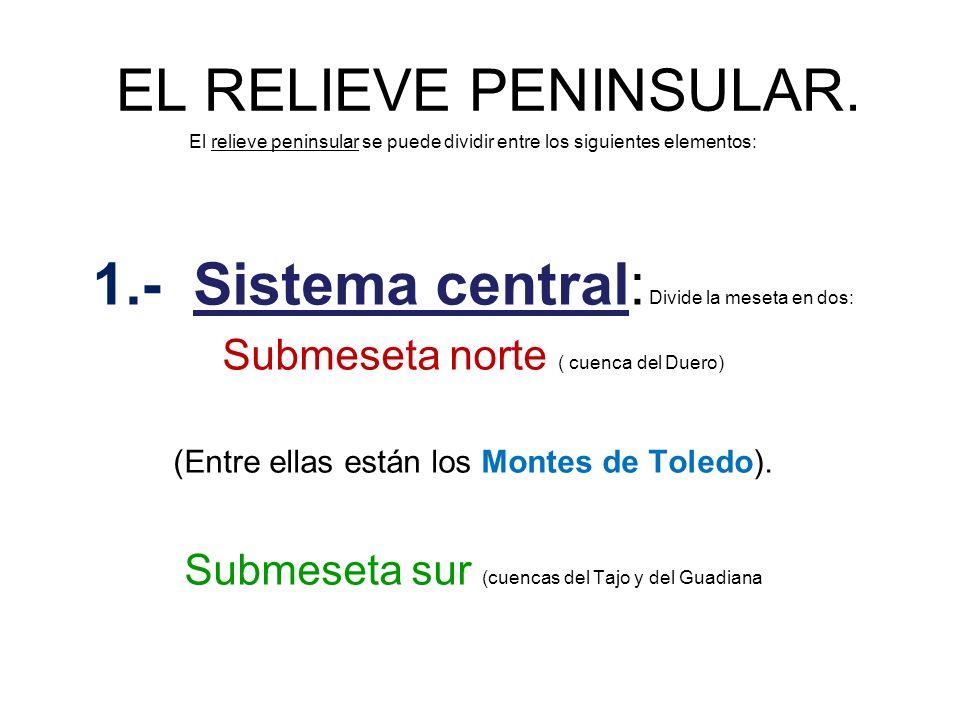 1.- Sistema central: Divide la meseta en dos: