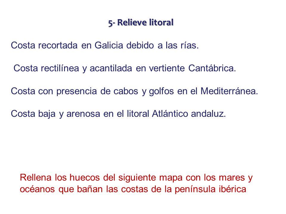 5- Relieve litoralCosta recortada en Galicia debido a las rías. Costa rectilínea y acantilada en vertiente Cantábrica.