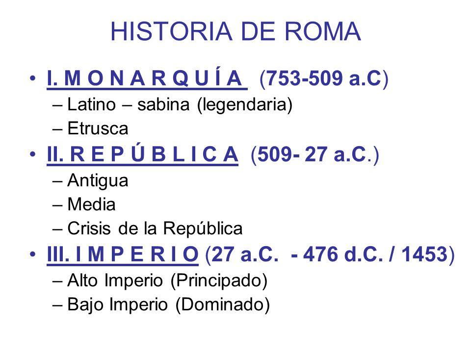 HISTORIA DE ROMA I. M O N A R Q U Í A (753-509 a.C)