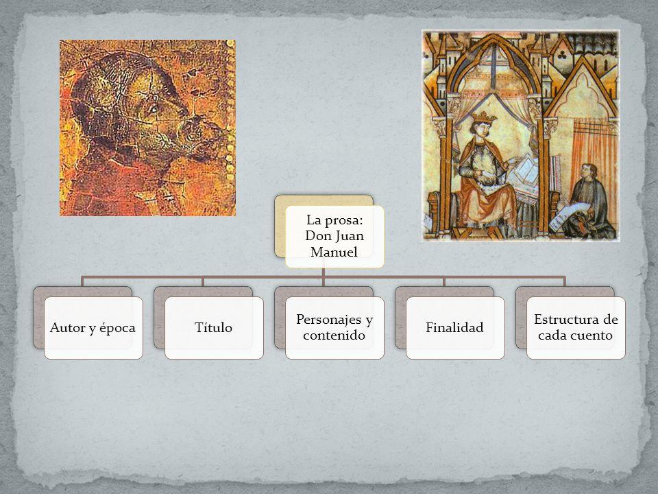 La prosa: Don Juan Manuel Autor y época Título Personajes y contenido