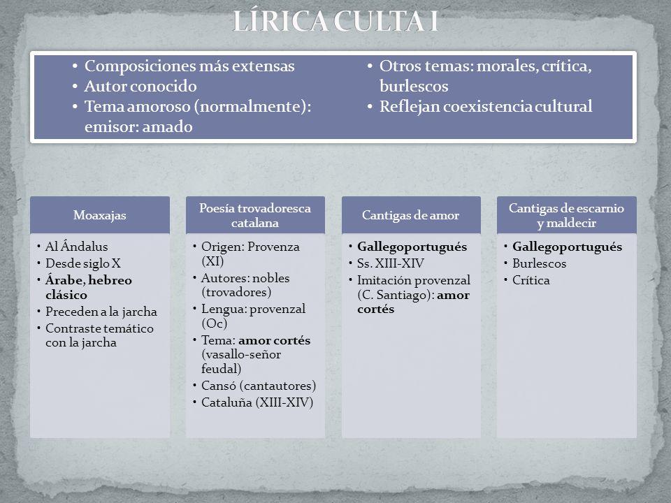 LÍRICA CULTA I Composiciones más extensas