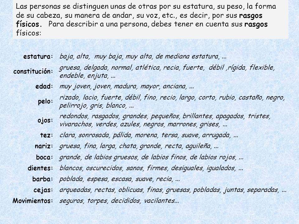 La descripción de personas: rasgos físicos.