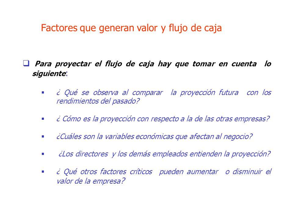 Factores que generan valor y flujo de caja