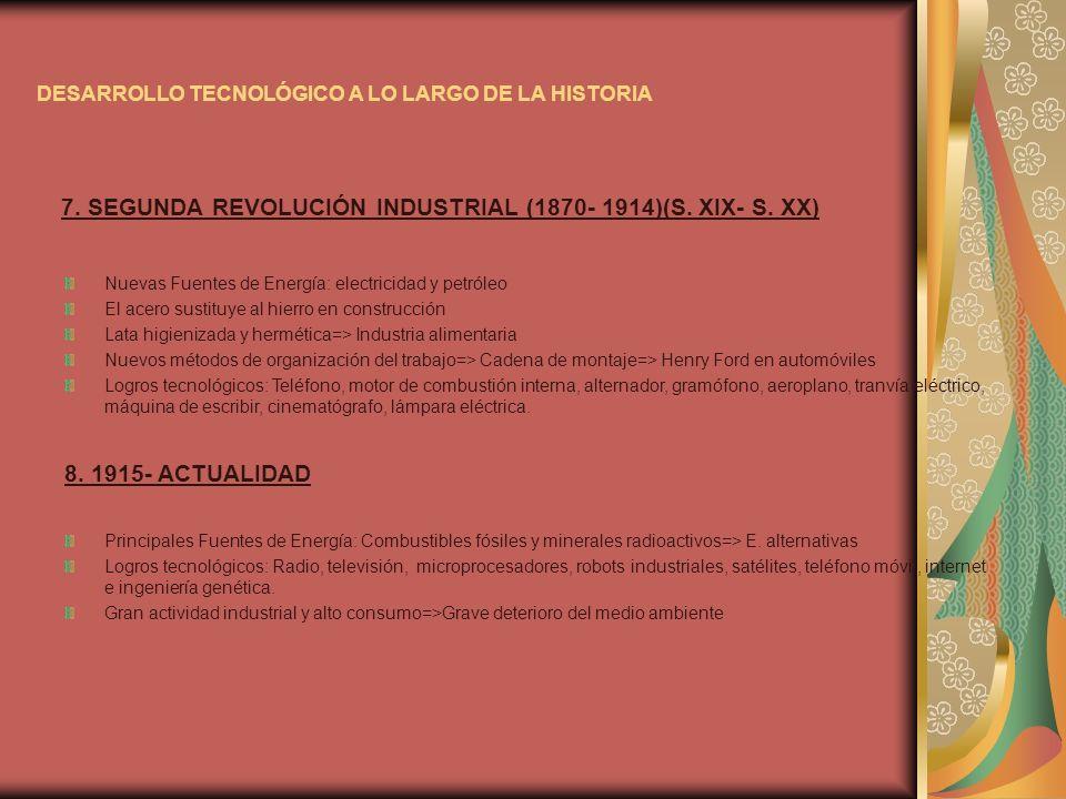 DESARROLLO TECNOLÓGICO A LO LARGO DE LA HISTORIA