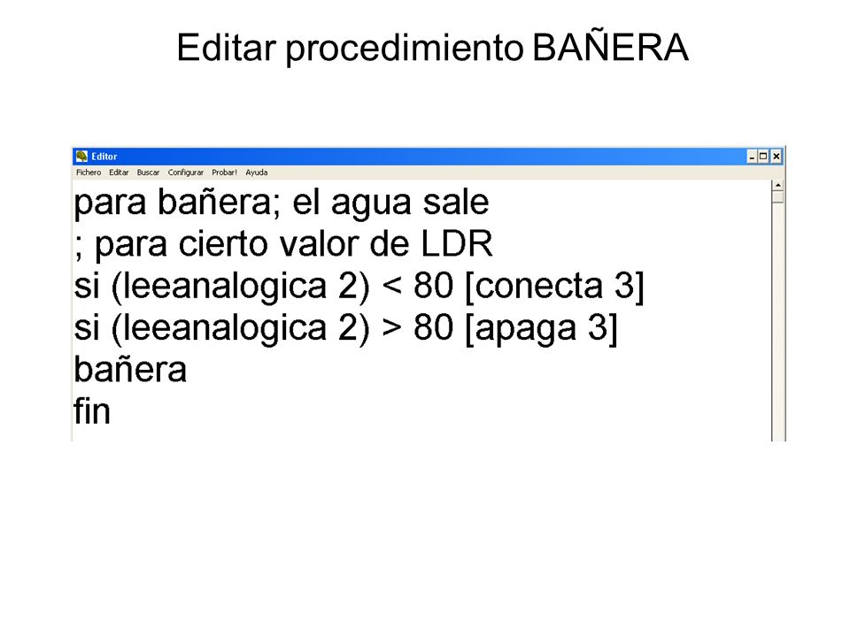 Editar procedimiento BAÑERA