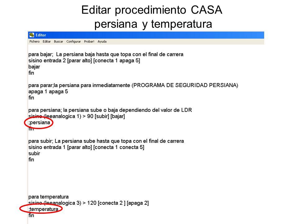 Editar procedimiento CASA persiana y temperatura