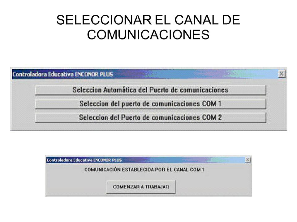 SELECCIONAR EL CANAL DE COMUNICACIONES