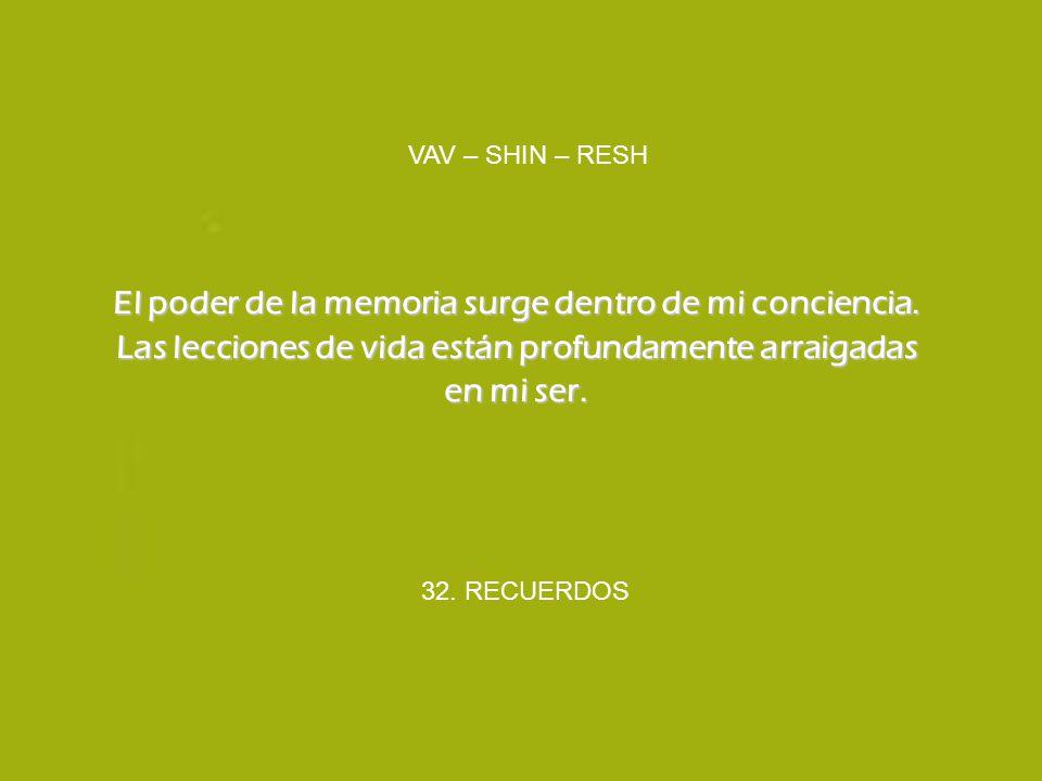 VAV – SHIN – RESH El poder de la memoria surge dentro de mi conciencia. Las lecciones de vida están profundamente arraigadas en mi ser.
