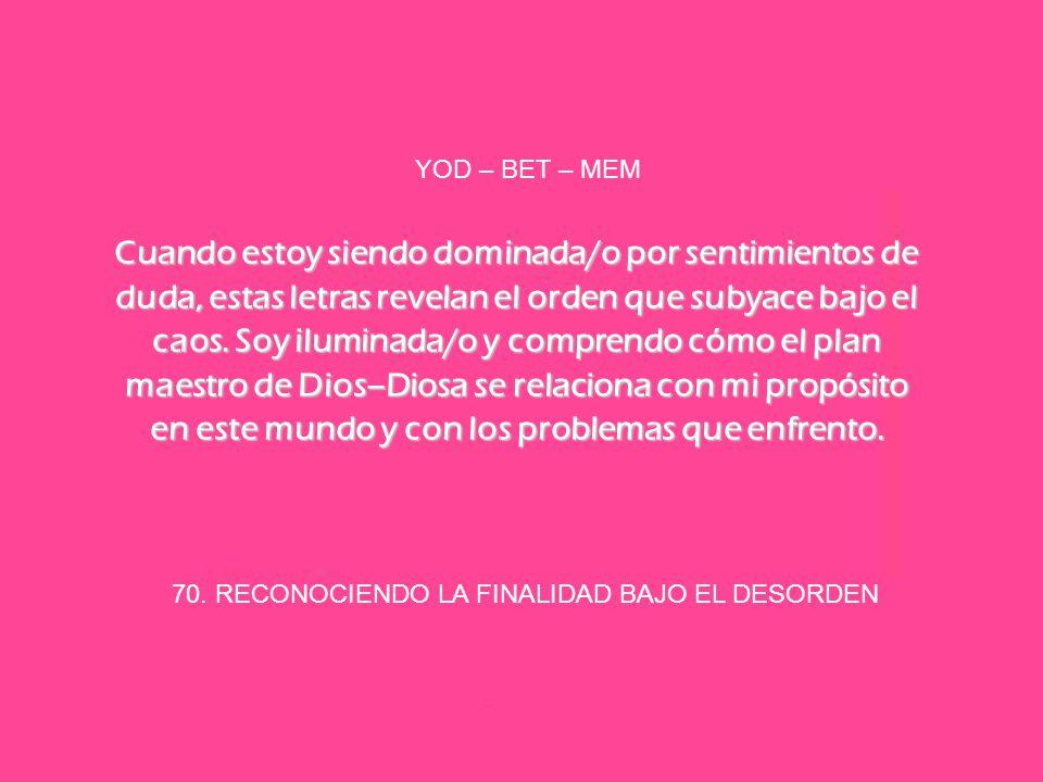 70. RECONOCIENDO LA FINALIDAD BAJO EL DESORDEN