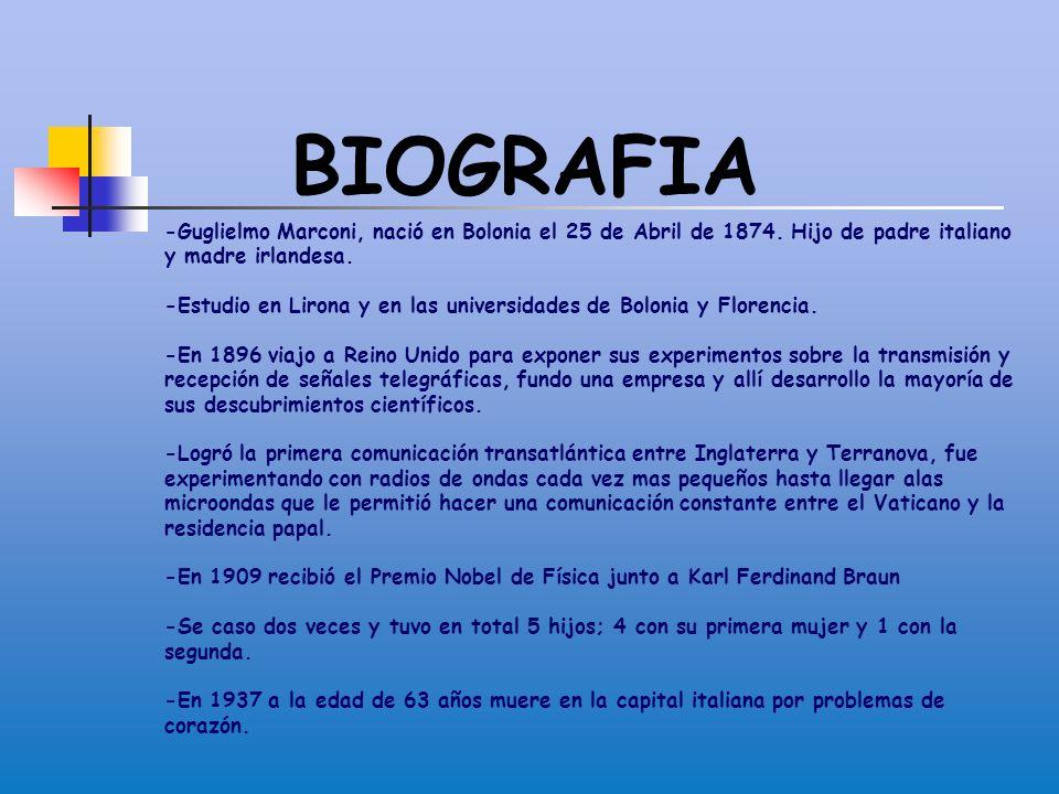 BIOGRAFIA -Guglielmo Marconi, nació en Bolonia el 25 de Abril de 1874. Hijo de padre italiano y madre irlandesa.