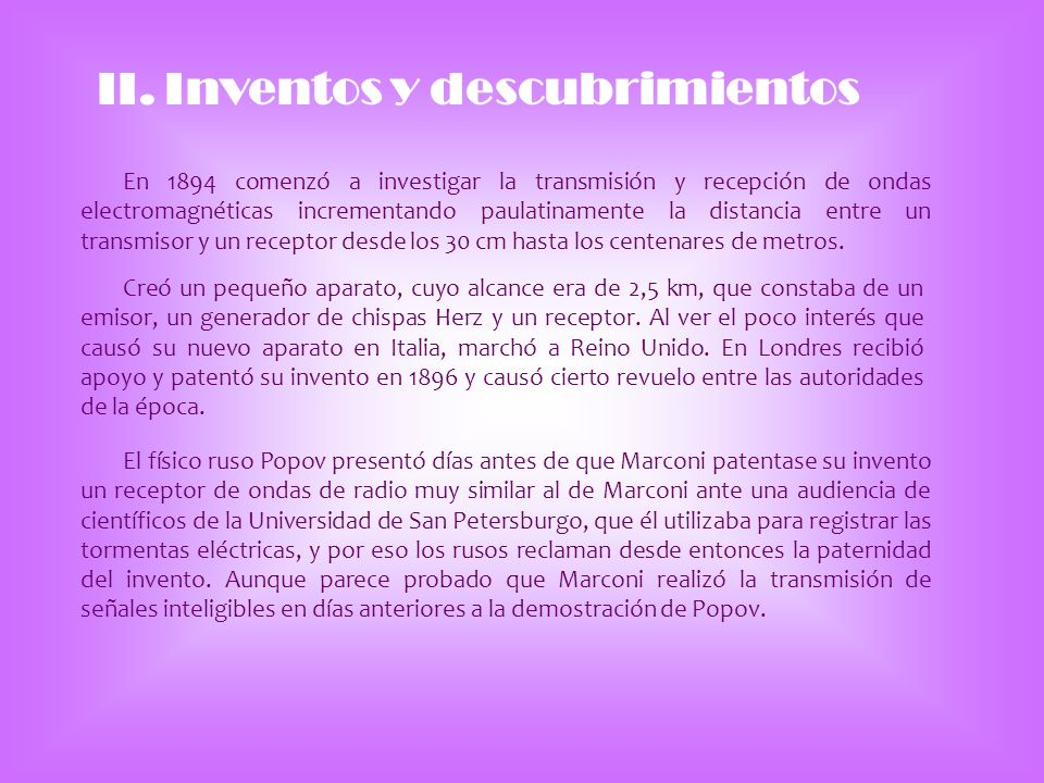 II. Inventos y descubrimientos