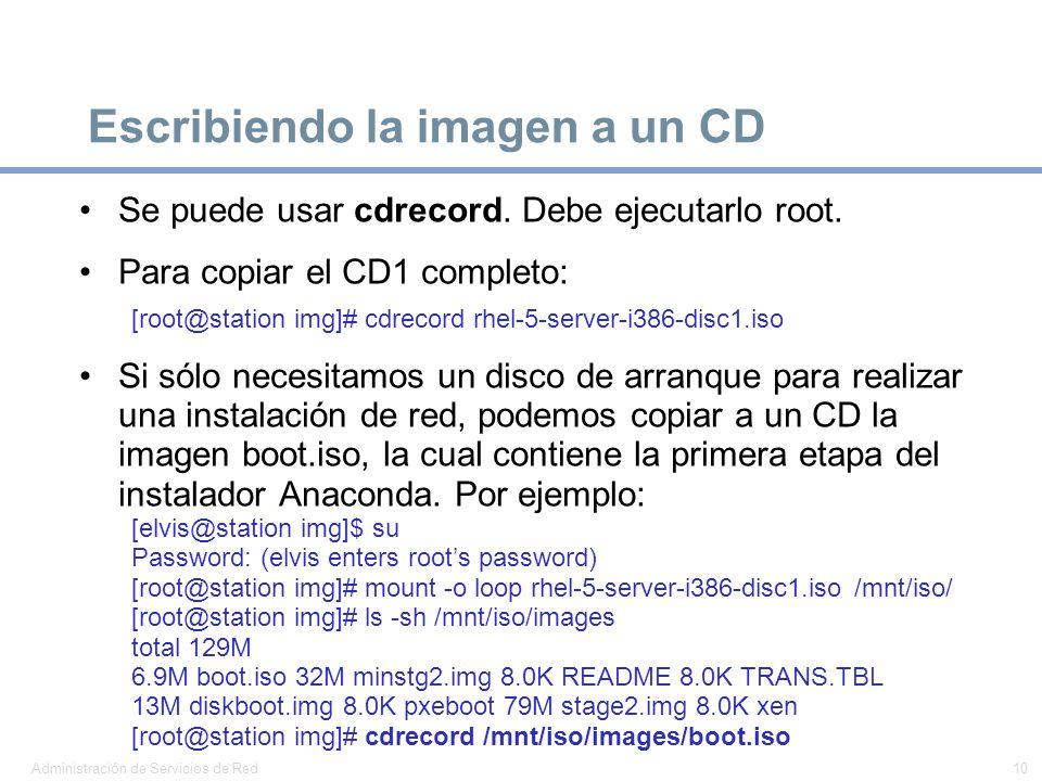 Escribiendo la imagen a un CD