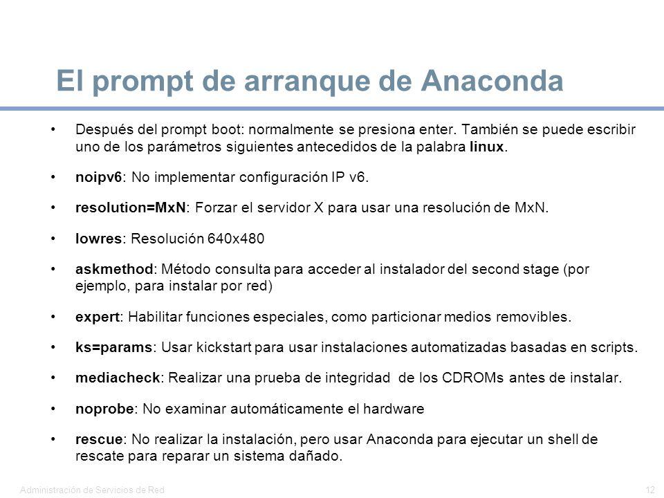 El prompt de arranque de Anaconda