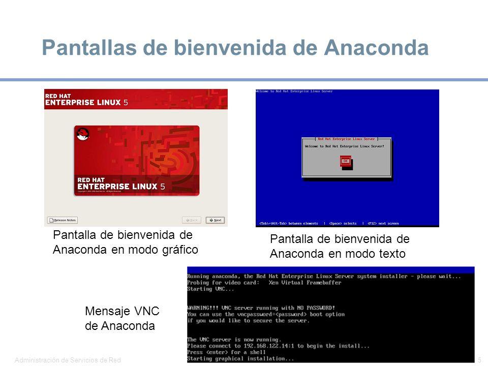 Pantallas de bienvenida de Anaconda