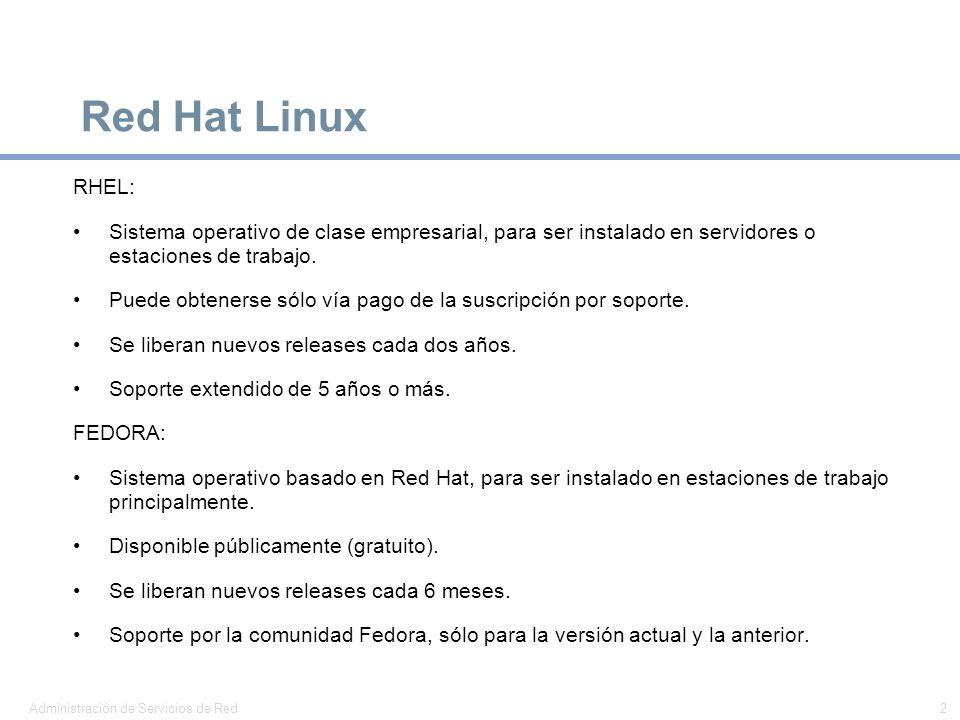 Red Hat Linux RHEL: Sistema operativo de clase empresarial, para ser instalado en servidores o estaciones de trabajo.