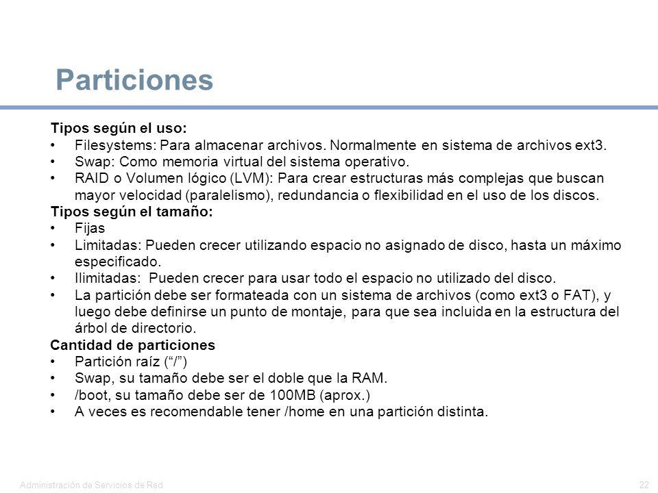 Particiones Tipos según el uso: