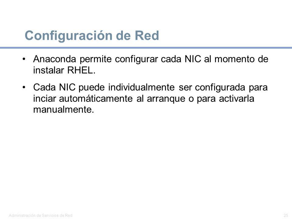 Configuración de RedAnaconda permite configurar cada NIC al momento de instalar RHEL.