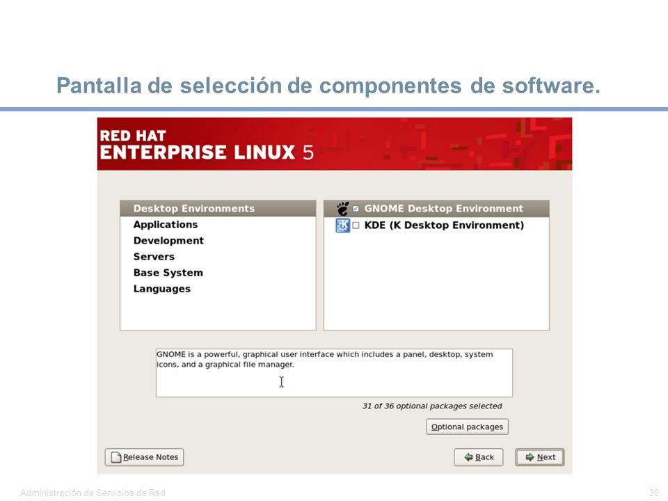 Pantalla de selección de componentes de software.