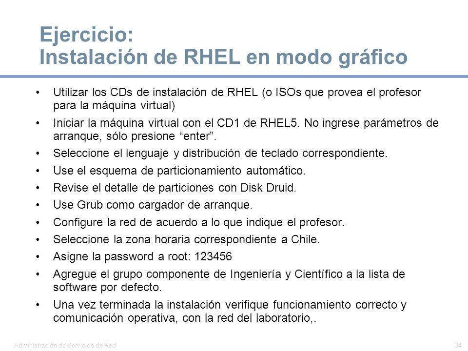 Ejercicio: Instalación de RHEL en modo gráfico