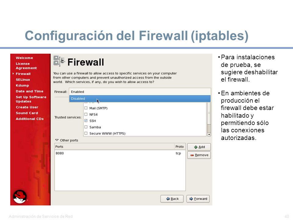 Configuración del Firewall (iptables)