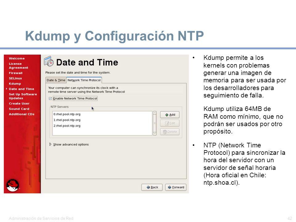 Kdump y Configuración NTP