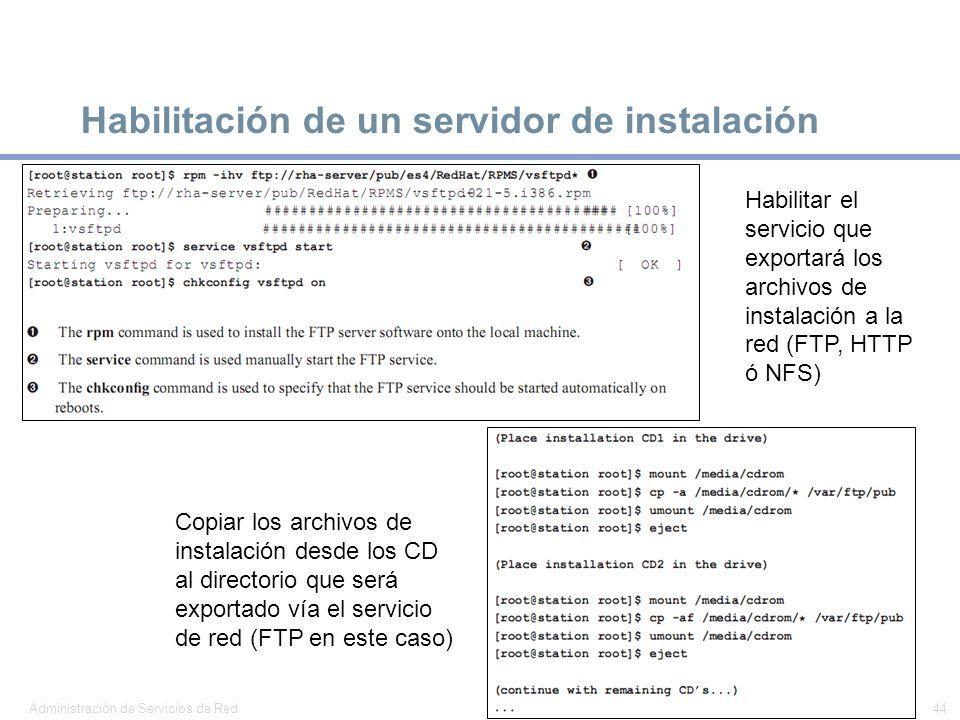 Habilitación de un servidor de instalación