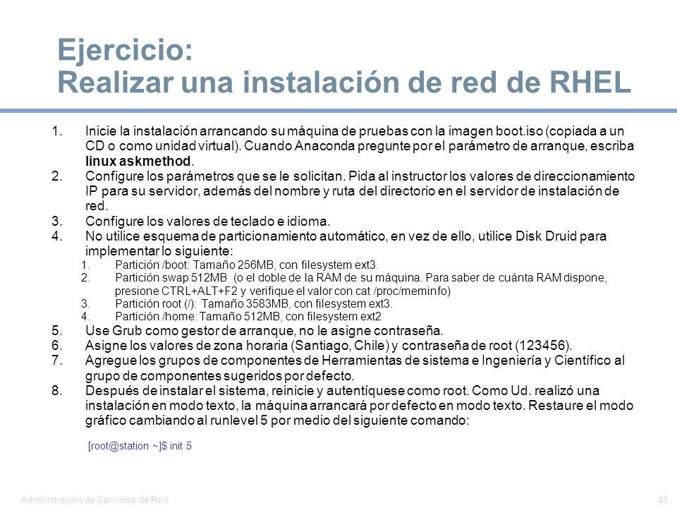 Ejercicio: Realizar una instalación de red de RHEL