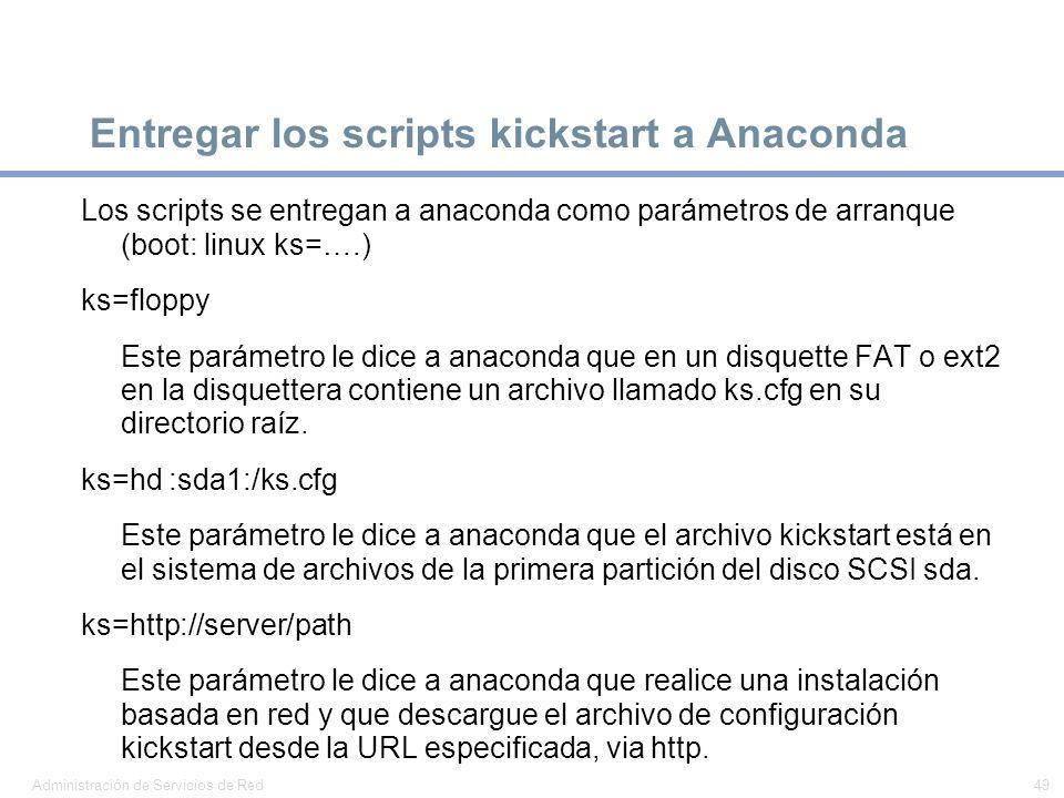 Entregar los scripts kickstart a Anaconda