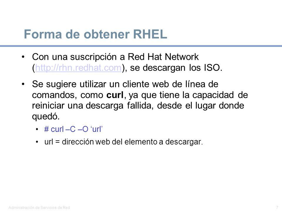 Forma de obtener RHEL Con una suscripción a Red Hat Network (http://rhn.redhat.com), se descargan los ISO.