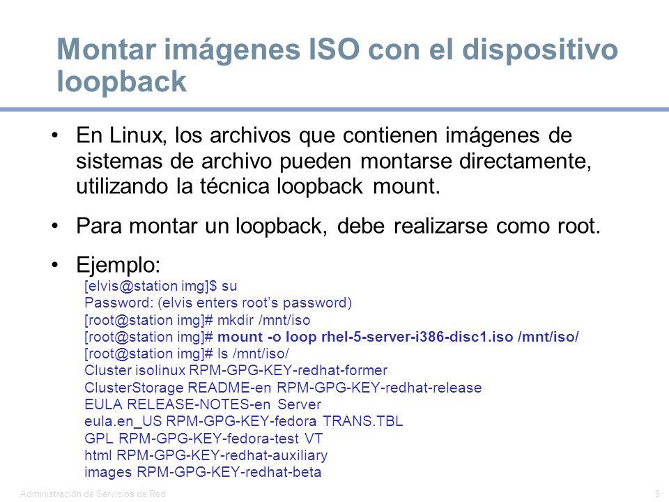 Montar imágenes ISO con el dispositivo loopback