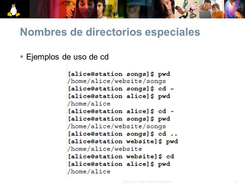 Nombres de directorios especiales