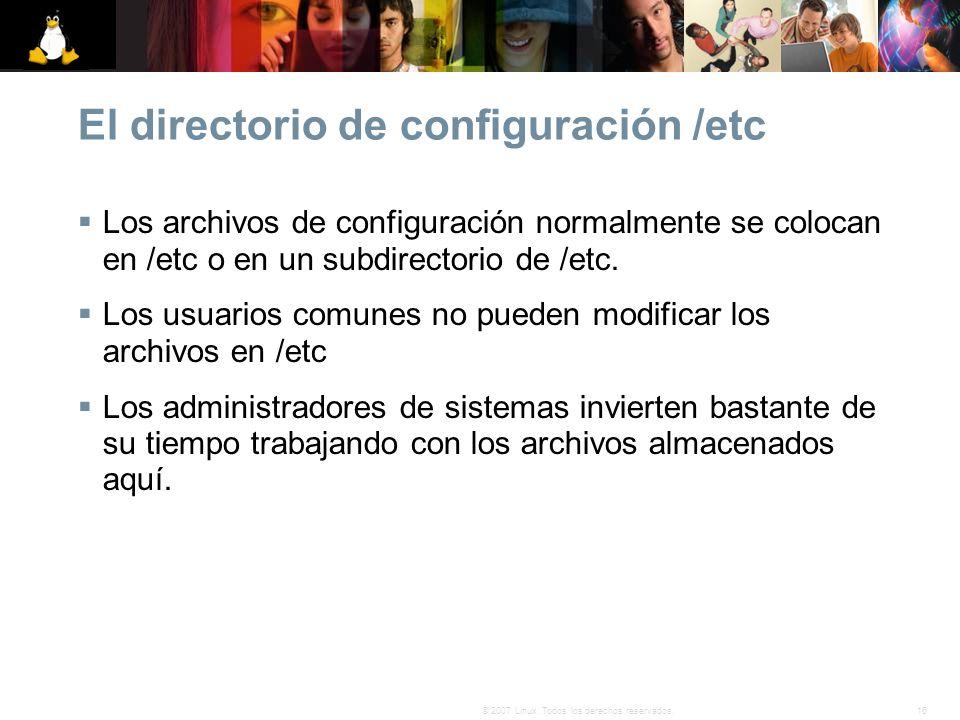 El directorio de configuración /etc
