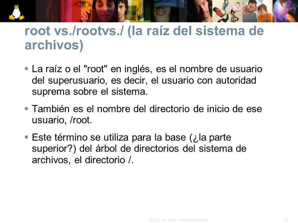 root vs./rootvs./ (la raíz del sistema de archivos)