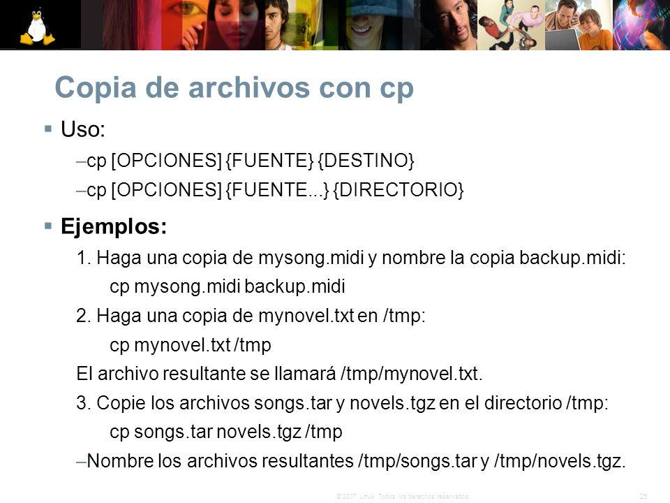 Copia de archivos con cp