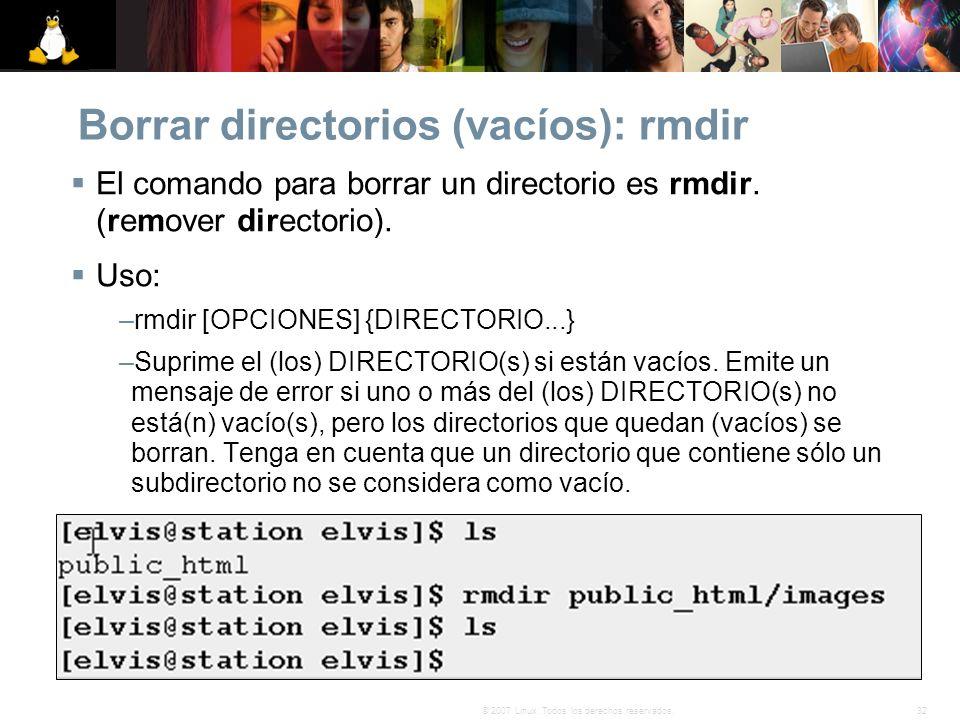 Borrar directorios (vacíos): rmdir