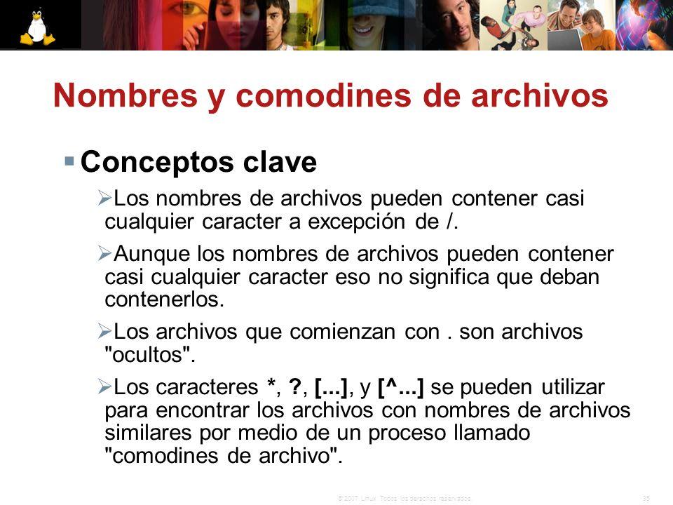 Nombres y comodines de archivos