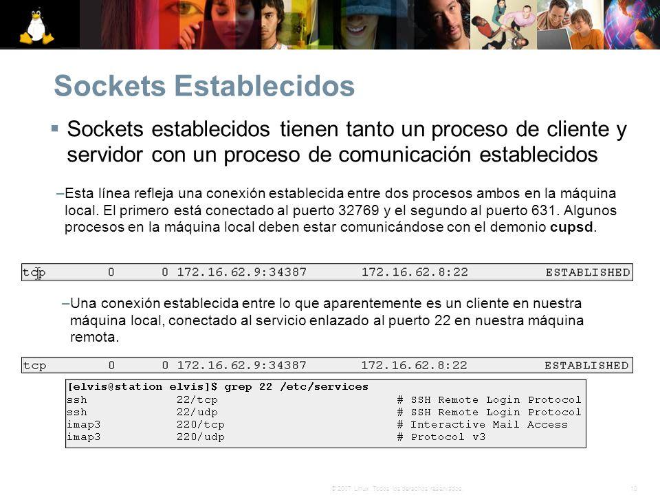 Sockets Establecidos Sockets establecidos tienen tanto un proceso de cliente y servidor con un proceso de comunicación establecidos.