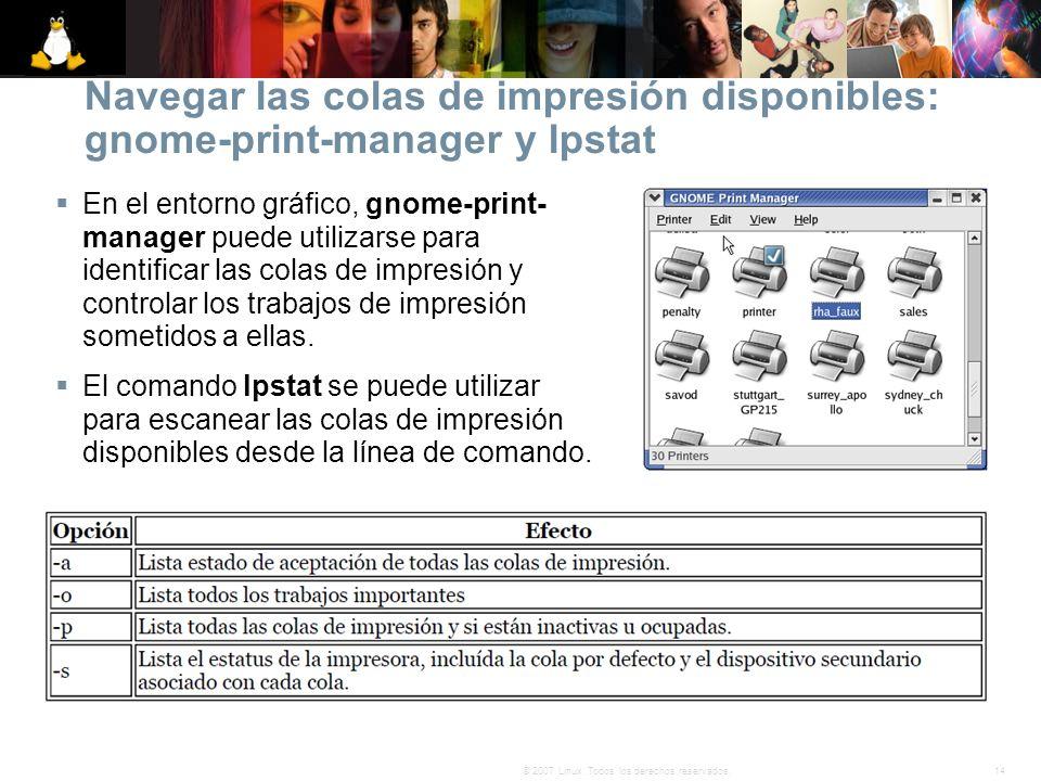 Navegar las colas de impresión disponibles: gnome-print-manager y lpstat