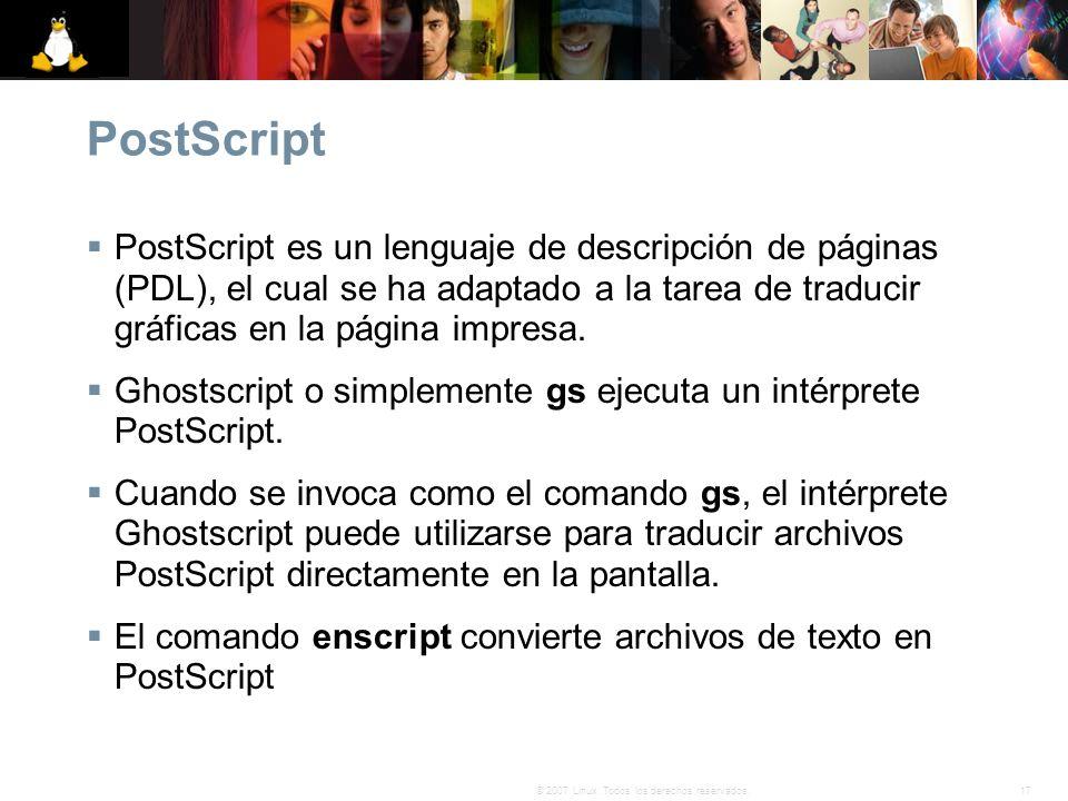 PostScript PostScript es un lenguaje de descripción de páginas (PDL), el cual se ha adaptado a la tarea de traducir gráficas en la página impresa.