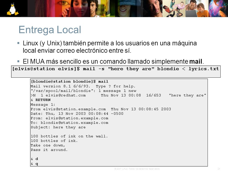 Entrega Local Linux (y Unix) también permite a los usuarios en una máquina local enviar correo electrónico entre sí.